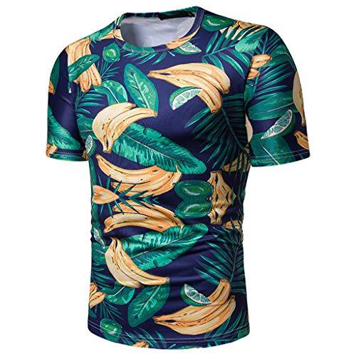 WUSIKY Tshirt Herren Hemd Herren Kurzarm Sommer Oversize Oberteile Holiday Beach Leaf Tops Drucken öffnen T Shirts Männer Hemden (Grün, XL) -