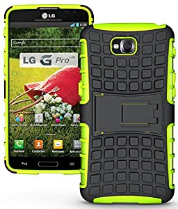 Heartly Flip Kick Stand Hard Dual Armor Hybrid Rugged Bumper Back Case Cover For LG G Pro Lite D680 D686 - Green