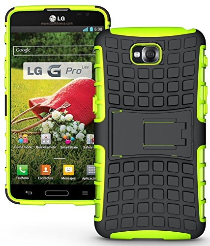 Heartly Flip Kick Stand Hard Dual Armor Hybrid Rugged Bumper Back Case Cover For LG G Pro Lite D680 D686 - Green  available at amazon for Rs.319
