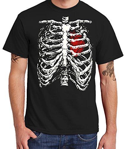 clothinx Herren T-Shirt Skelett Kostüm Schwarz Gr. -