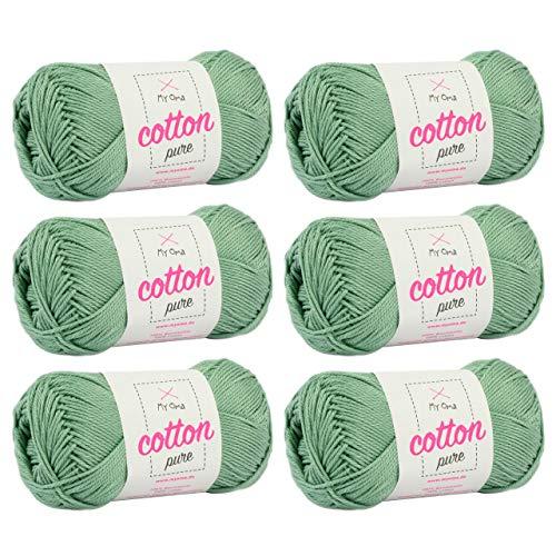 Seidig Salbei (MyOma Baumwolle Garn Cotton Pure Salbei (Fb 0135)* Baumwolle Garn Stricken + GRATIS Anleitung - 6 Knäuel hellgrünes Baumwollgarn/hellgrüne Baumwolle - 50g/125m - Nadelstärke 2,5-3,5mm)