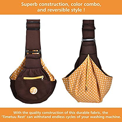 Timetuu adjustable handsfree dog carrier sling with unique buckles, zippered pocket and water proof bag for small dogs… 3