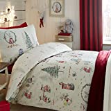 Weihnachtliches Bettwäsche-Set - leuchtet im Dunkeln - UK-Einzelbett - Billy Bunny
