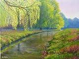 'Frühjahr' - Original Landschaftsmalerei, Acryl, 40cm x 30cm, Ufer Szene im Sonnenlicht, Weiden, Holland Bach.