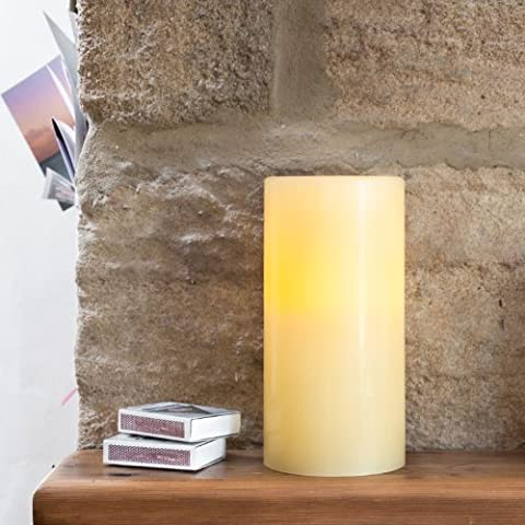 Medium Church Pillar Battery Operated Wax LED Candle with Timer by Lights4fun