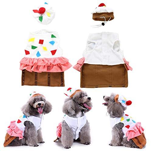 Class-Z Pet Kleidung,Weihnachten HundeKleidung, Cupcake Muster Kostüm Outfit Haustier Kleidung mit Hut für Kleine mittlere große Hunde und ()