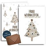20 Weihnachtskarten mit Umschlägen im Set | Klappkarten + Umschlag aus Kraftpapier | Für Familie, Freunde & geschäftlich | Grußkarten: festlich, edel, modern, schlicht, Tannenbaum - Frohe Weihnachten