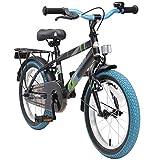 BIKESTAR Premium Sicherheits Kinderfahrrad 16 Zoll für Jungen und Mädchen ab 4-5 Jahre ★ 16er Kinderrad Modern ★ Fahrrad für Kinder Schwarz & Blau