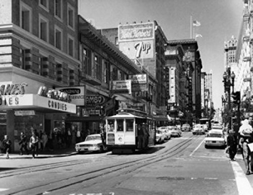 USA California San Francisco Powell & Ellis Streets 1950s Poster Drucken (60,96 x 91,44 cm)