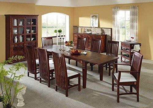 Kolonial Esstisch 200-280x100 Akazie Möbel massiv OXFORD SUNO #123 mit 2 Ansteckplatten