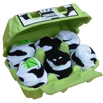 Soggs 160116 - 6 Paar Socken In Eierkarton, Cow Edition Mit Kuhflecken (Black/White), Geeignet Von 6 Bis 12 Monate