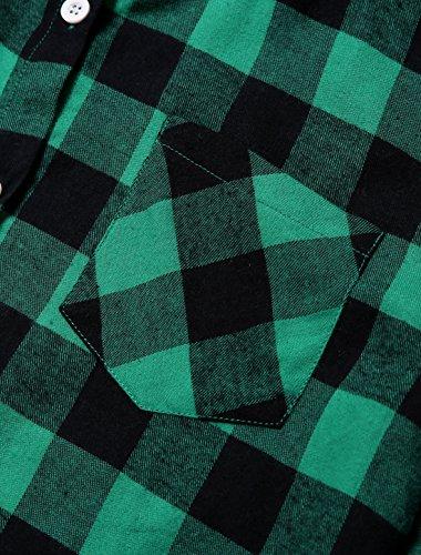 Allegra K Allegra K donnearrotolate maniche colletto punta Camicia Nero Blu M Verde