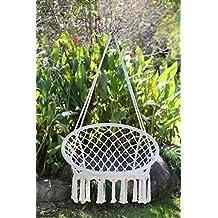 Angel Living Hamaca de algodón Tejida para Colgar Silla de Columpio de 260 Libras de Capacidad