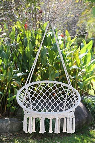 Angel Living Hamaca tipo silla de algodón tejida, 120 kg de capacidad, para interior y exterior, para colgar en patio,...