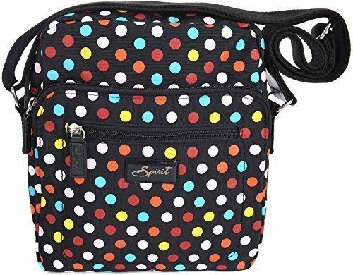 Spirit - Reisetasche Schultertasche Reißverschluss - Stil 5766 schwarz & Bunt Punkte