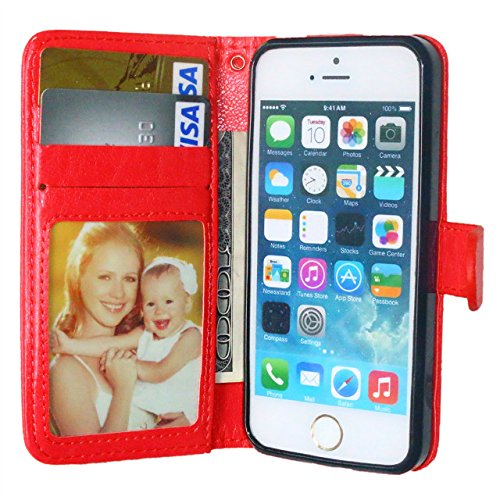 iPhone Case Cover Solide boucle de couleur horizontale Premium PU cuir Flip Stand Case avec 3 cartes Cash Slot et cadre photo pour IPhone 7 ( Color : Red , Size : IPhone 7 ) Red