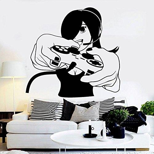 fancjj Jeu Poignée Autocollant Fille Gamer Decal Gamers Affiches Joueur Vinyle Stickers Muraux Décor Murale Murale Jeu Vidéo Autocollant 58x60cm