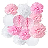 Pompoms Deko Geburtstagsdeko Rosa Furuix Weißes Rosa Pom Pom Blumen Tissue Papier Pompom Kugeln Papier Blume hängen Pom Hochzeitsfest Bevorzugungen im Freien Dekoration