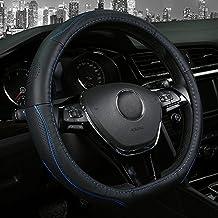 Funda para volante de coche de piel, tipo D, 38,1 cm, antideslizante, color negro