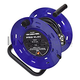 VisioSound Extension Cable Reel - Long UK Mains Power Lead - 15m 2 Gang