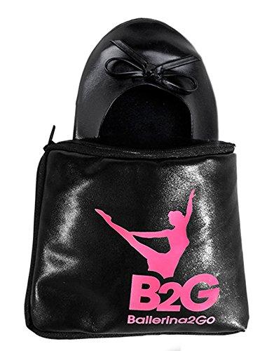 Ballerinas Faltbare (Faltbare Ballerinas Schuhe von Ballerina2Go mit Satintasche - rollbare Wechselschuhe Afterparty flache Schuhe guenstig zum mitnehmen Schuhe zum falten Slipper Flats (40/41, Schwarz))