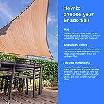 Cool Area Sonnensegel Rechteckig 2 x 3 Meter, Sonnenschutz HDPE wetterbeständig für Garten und Balkon, Sand