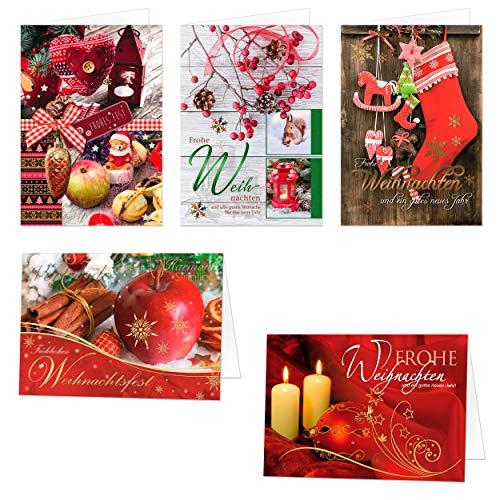 Weihnachtskarten Set 5 x 10 Motive, 50 veredelte Premium Klappkarten mit Umschlag