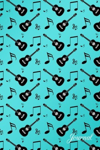Journal: Turquoise music notes guitars notebook