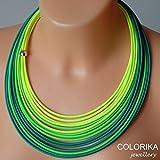 Textil Halskette, farben: neongrün, grün, gelb, silber