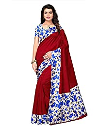 Varayu Women's Poly Silk Floral Printed Saree With Unstitched Blouse Piece