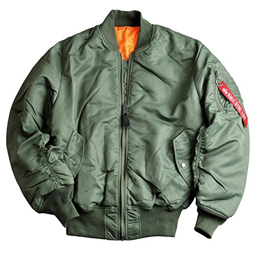 Alpha Industries Bomber-Kult-Wende-Jacke MA-1 aus Flight-Nylon original schwarz sage-Green Innen-Futter-orange Starke Strickbündchen Aussen-Innen-Taschen original, Farbe:sage Green;Größe:XXL