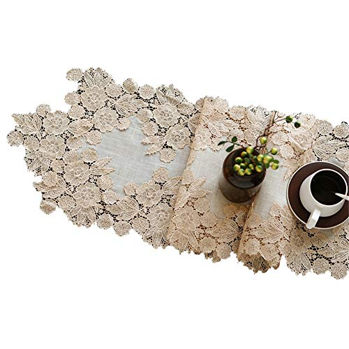 Chemin de table Chemin de table en dentelle, nappe longue de tapis de famille pour la literie d'hôtel de matelas de mariage d'anniversaire de mariage (Couleur : Beige, taille : 35×120cm)