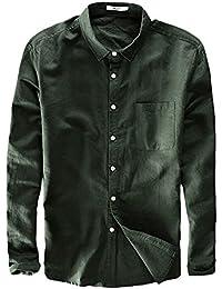Ommda Herren 100% Leinen Hemden Freizeit Leinenhemd Langarm Button Down 68550edd49