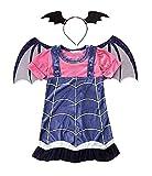 Costume Vampirina Bambina Carnevale Vestito Vampira Halloween Cerchietto Con Ali Da Pipistrello Travestimento Dracula Vampiro (Taglia 120) 6-7 Anni Cosplay