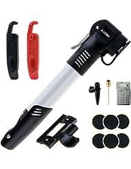Zacro Mini Bomba de Bicicleta, con Kit de Reparacion de Pinchazos de Neumáticos sin Cola y Palancas, Marco de Montaje y Bola de Aguja, Compatible con los Presta y Schrader