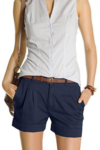 Bestyledberlin Damen Shorts, kurze Chino Hosen, Damenhosen, Bundfaltenhosen j161p 36/S navy