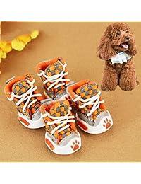 Easy Go Shopping 4 UNIDS Cinturón Tejido Cómodo Perro Mascotas Zapatos Pequeños Perros Zapatos, Longitud