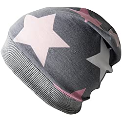 Wollhuhn ÖKO Leichte Beanie-Mütze Big Stars grau/rosa / pink, für Mädchen, 20160313, Größe XXS: KU 36/40 (bis ca 6 Mon.)
