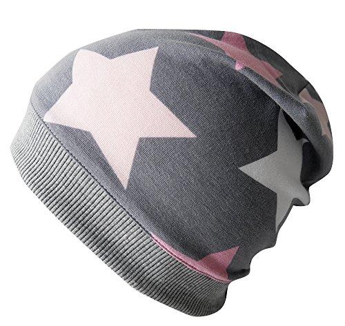 Team Jersey-schal (WOLLHUHN ÖKO Leichte Beanie-Mütze BIG STARS grau / rosa / pink, für Mädchen, 20160313, XS: KU 42/46 (ca 6 Mon. bis 2 Jahre), BIG STARS grau / rosa / pink)