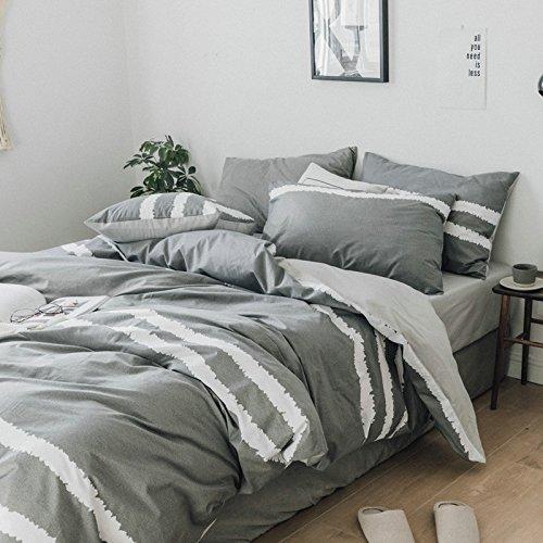 Smncnl Nordic Einfachheit, kalter Wind Baumwolle 4-teilig Gestreifte grid voll Tröster Set Bettwäsche Bettwäsche unternehmen ThatDavid, 1,8 M