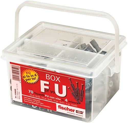 Fischer Kit For You Box, 70 Tasselli FU con Vite per Muro Pieno, Cartongesso e Lastre, 536688