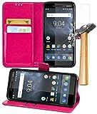 Gadget Giant Nokia 6 2018/Nokia 6.1 Pink Farbe PU Lederetui Buch-Stil Handy Hülle mit Explosions- Splittersicher Hartglas