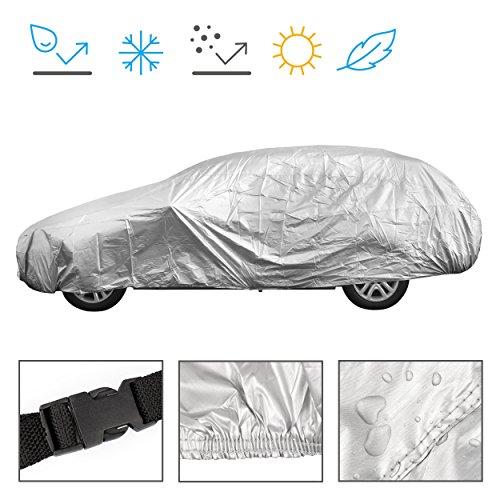 Minuma Autoplane Größe L | für viele Autos und Modelle geeignet mit Gummizug im Saum und Sicherheitsschnalle für Wind | Autogarage Abdeckplane für Winter & Sommer | einfache Benutzung | Farbe: Silber