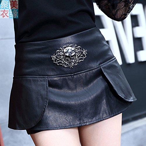 XiaoGao Minifalda de Cuero Negro de la PU,M