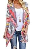 Monissy Femmes Cardigan Blazer Manteau Blousons Rayures Asymétriques A Mi- Manches Coutures