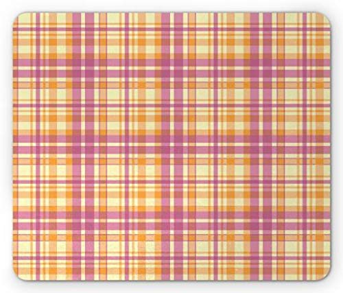 Plaid Mouse Pad, 1960s Retro Fashion Colorful Pastel Square Tiles in Repetitive Order, Standard Size Rectangle Non-Slip Rubber Mousepad, Pale Yellow Orange Pink