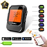 Wireless Meat Thermometer, HOBFU Digital Bluetooth BBQ Thermometer iPhone APP Control Operating Range up to 196ft | for Milk Coffee Grill Oven Kitchen Cooking with 6 Stainless Steel Probe