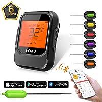 Grillthermometer Bluetooth,HOBFU Digital BBQ Thermometer iPhone APP Steuerbereich bis zu 196 Fuß   für Milch Kaffee Grill Ofen Küche Kochen mit 6 Edelstahl Sonde