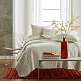KekeHouse Gesteppt Tagesdecke 100% Baumwolle Steppdecke Bettüberwurf 230cm x 250cm decke Bettdecke Beige für Doppelbett mit kissenbezüge