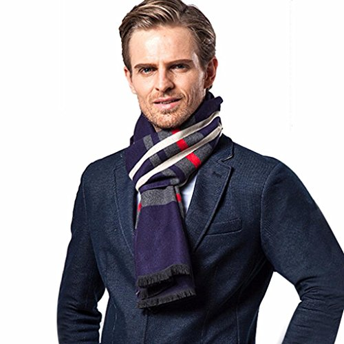 squarex Schal Herren Winter Kaschmir Herrenschal Elegante business-schalfeature Celebrity Style Schals Maxi, Schal, Wrap, Sarong, Schals, Pashmina, navy, Size:180*30CM (Spitze Bett-jacke)